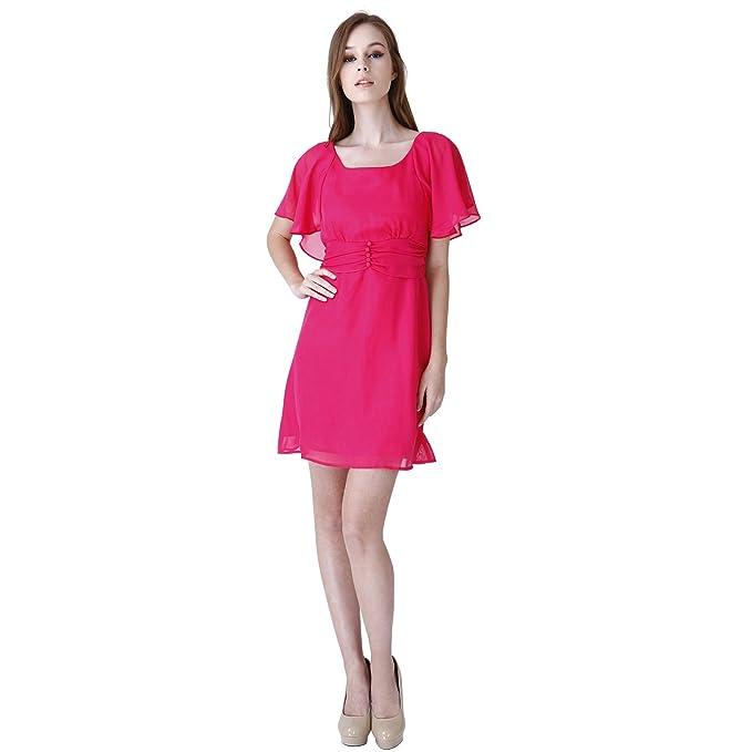fbca3312720f Donna Bella Empire Volants Camicia Vestito da festa vestito rosa Cocktail  Abiti da sera fucsia 42