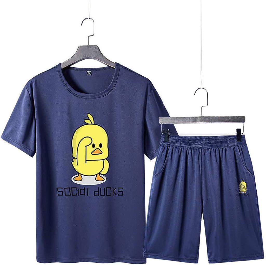 2019 Mens Pajamas,NEWONESUN Loungewear for Men Printed Short Sleeve Summer Cotton Shorts Set Suit Tracksuit Loungewear