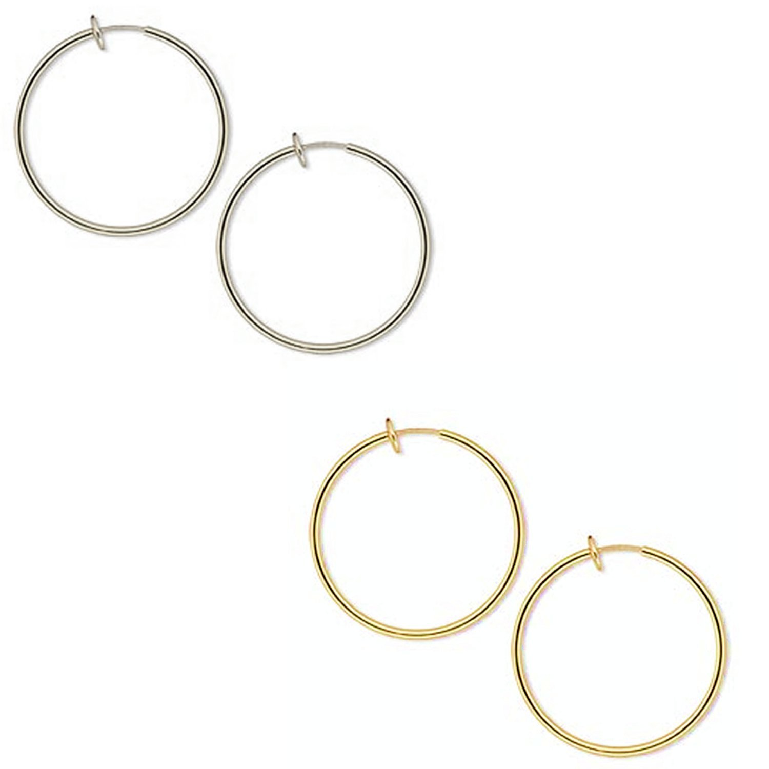 Gold Plated Brass Spring Hoops Earrings Clip On-Small, Medium & Large Hoops for Women & Girls, Unpierced (Gold/Silver Large)