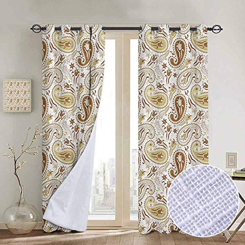 (NUOMANAN Blackout Curtains Paisley,Floral Patterns with Paisley Inspired and Tulips Persian Hippie Art, White Chocolate Umber,Thermal Insulated Panels Home Décor Window Draperies for Bedroom a52 x96)