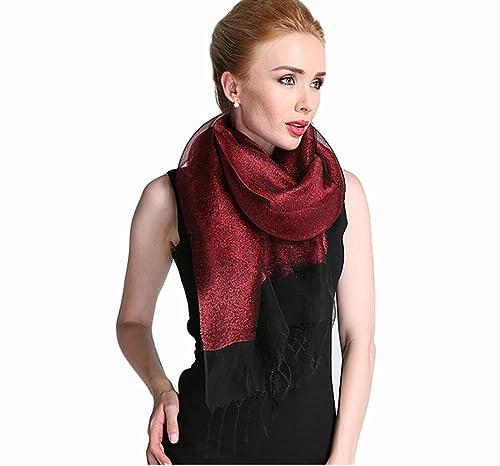 Donna Brillante Colore Solido 50% seta 50% Lurex Partito Stole Scialli Sciarpe Wrap Con Frange