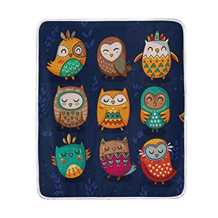 Amazon.com  Tribal Owls Cute Throw Blanket for Bed Couch Chair Sofa ... 69c8e8c185
