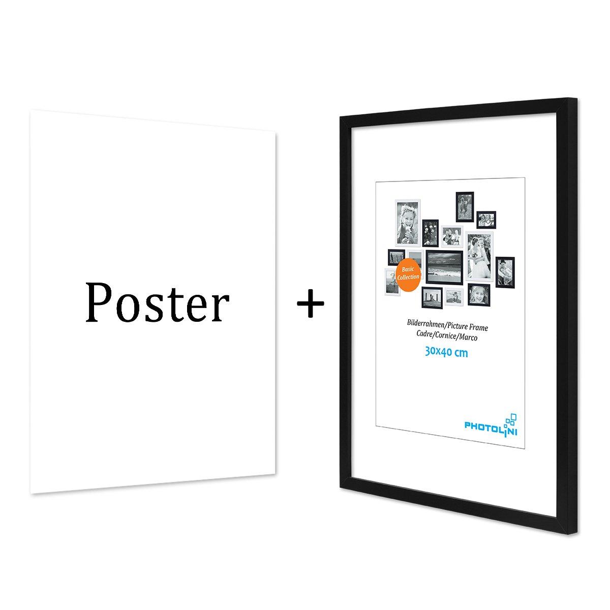 PHOTOLINI Design-Poster mit Bilderrahmen Schwarz \'Hello Gold\' 30x40 ...