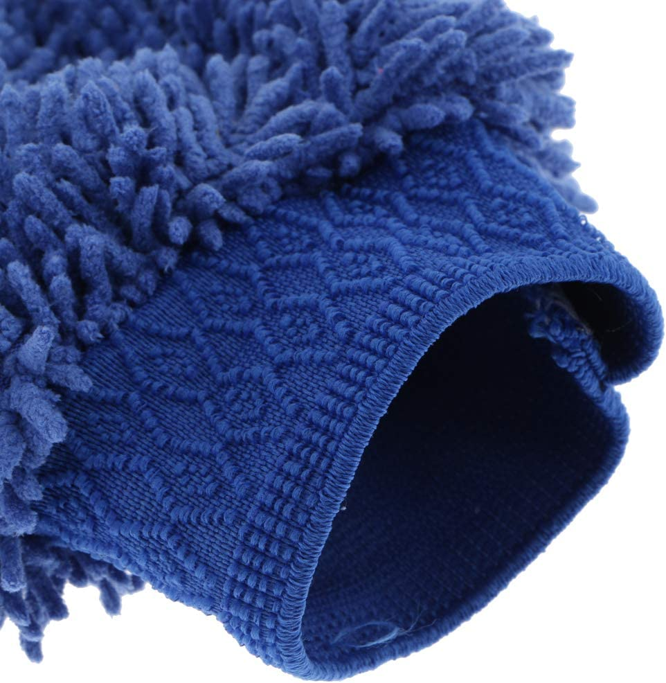 Car Wash Mitt Chenille Household Microfiber Cleaning Gloves Mitten Blue