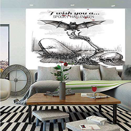Halloween Decorations Huge Photo Wall Mural,Dead Skull Zombie Out Grave and Flying Bat Hand Drawn Spooky Picture,Self-Adhesive Large Wallpaper for Home Decor 108x152 inches,Black White]()
