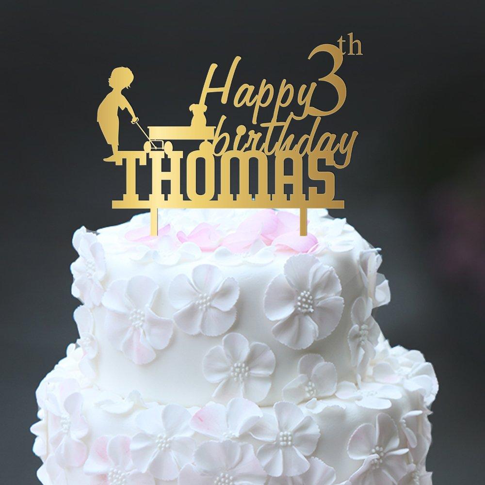 Amazon Happy Birthday Cake Topper With Boy Dog Small Toy Trailer