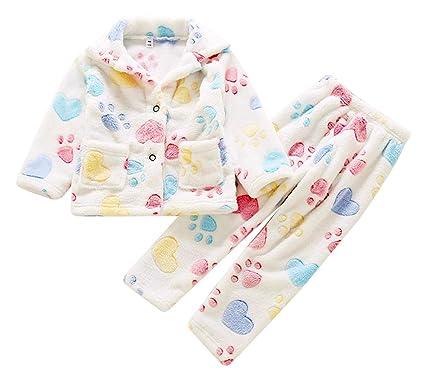 1e19733b66752 Aieoe – Ensemble de Pajamas Enfant Bébé Garçon Fille Flanelle Doux Motifs  Vivants Chemise Pantalon