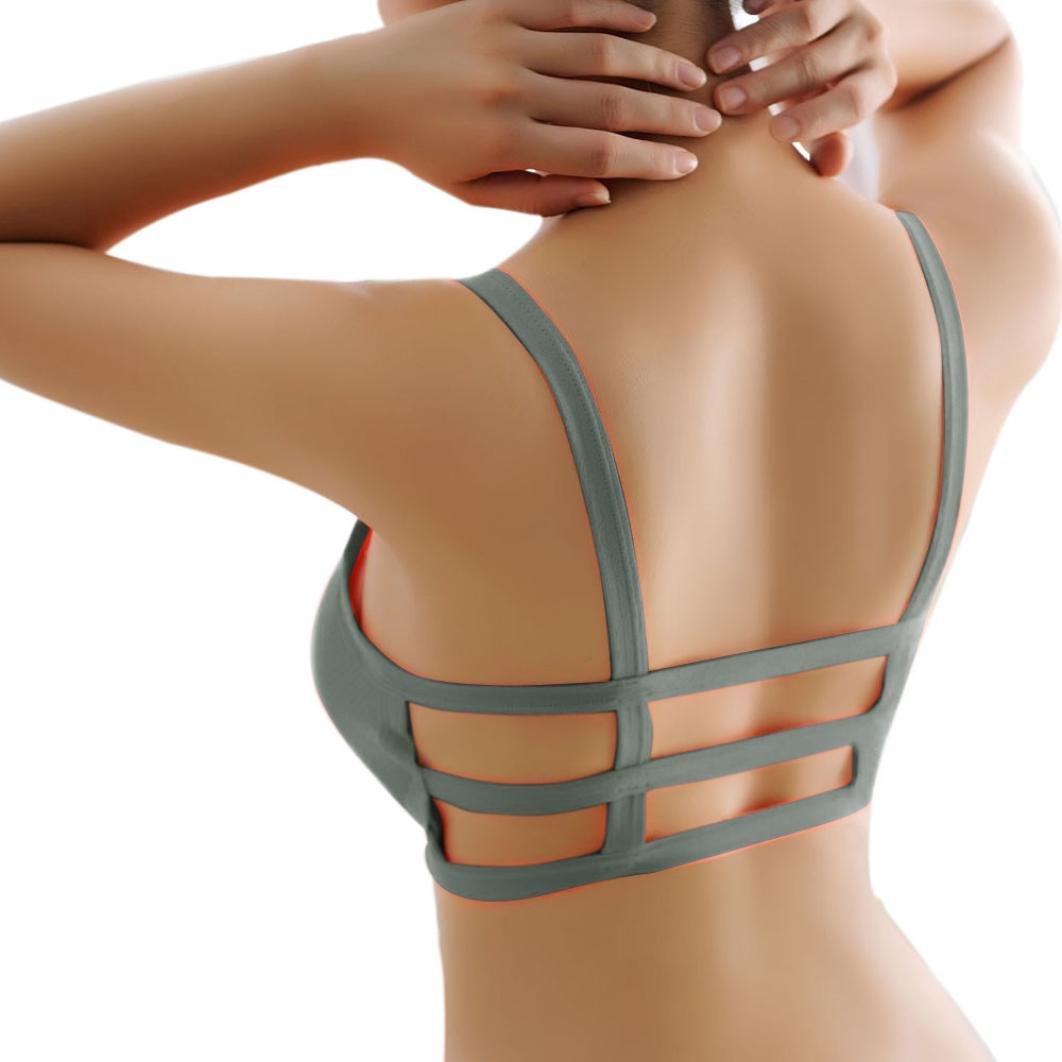 Junshion Sports Cotton Bras Padded Bralette Cage Back Bra Yoga Gym Workout Fitness