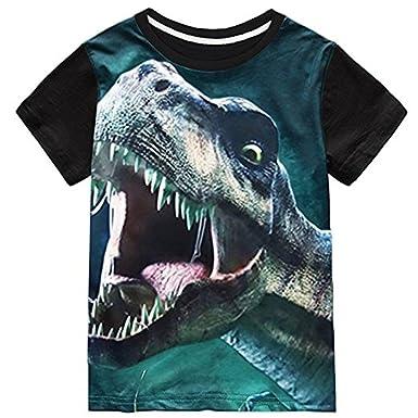 Tkria Garçons Enfants T-Shirt Manche Courte Tops Col Rond Cartoon Dinosaure  Animaux Sweat- c9b14715f1c