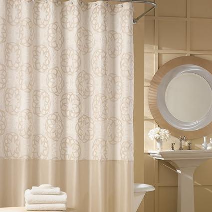Amazon.com: DS BATH Odisha Cream Shower Curtain,Contemporary Shower ...