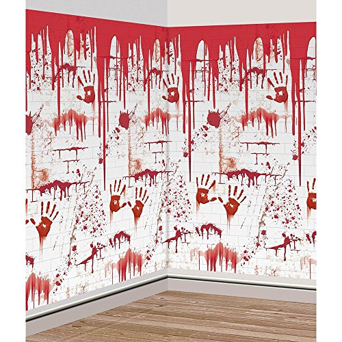 Amscan Haunted Asylum Halloween Bloody Chop Shop Scene Setter Decorating Kit (2 Piece), 48