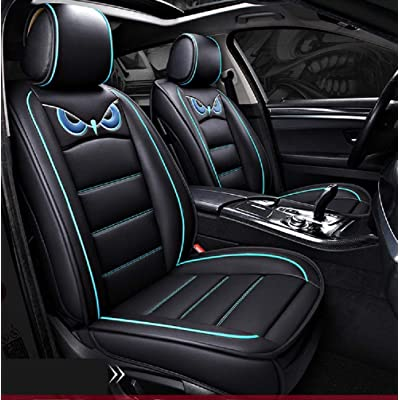 PTOWL Cartoon Full Set Universal Fit 5 Seats Car Surrounded Waterproof Leather Car Seat Covers Protector Adjustable Removable Auto Seat Cushions (Black-Blue): Automotive