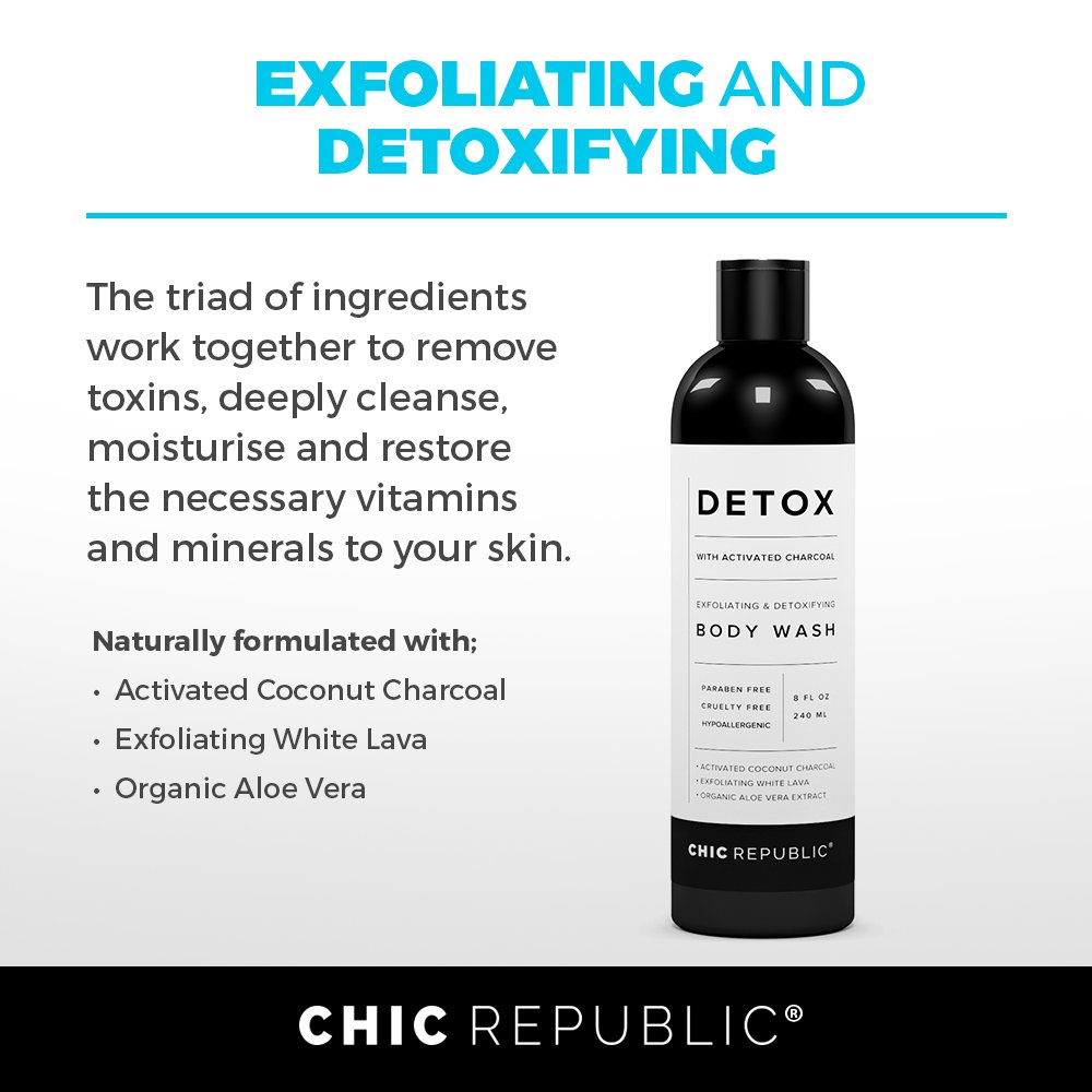 Natural Body Wash with Activated Coconut Charcoal, Exfoliating Wash White Lava, Aloe Vera Plant Extract, as Detox & Hypoallergenic Shower Gel, for Skin Rejuvenation, Sensitive Skin, Women Men by CHIC REPUBLIC (Image #2)