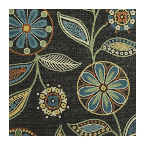 Maples Rugs Reggie Floral Runner Rug Non Slip Hallway Entry Carpet [Made in USA], Multi, 2 x 6 - 2 x 6 Hallway Runner Rug - Features a Modern Twist on a bold floral pattern. Vibrant hues of multi-colors on a dark background creates a high contrast, eye-catching artwork on the floor Timeless Design with 100% Nylon Pile for Added Durability and Fade Resistance 0.44 Inch Pile Height, Low Profile to be Placed in Any Setting. Easy Care and Machine Washable - runner-rugs, entryway-furniture-decor, entryway-laundry-room - 61rcAQ2xv4L. SS570  -