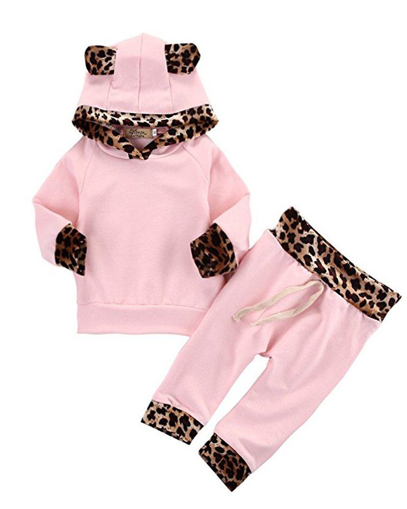2Pcs Cute Newborn Baby Girls Pink Leopard Hoodie T-shirt Top + Pants Outfits Set (3-6M, Pink&Leopard)