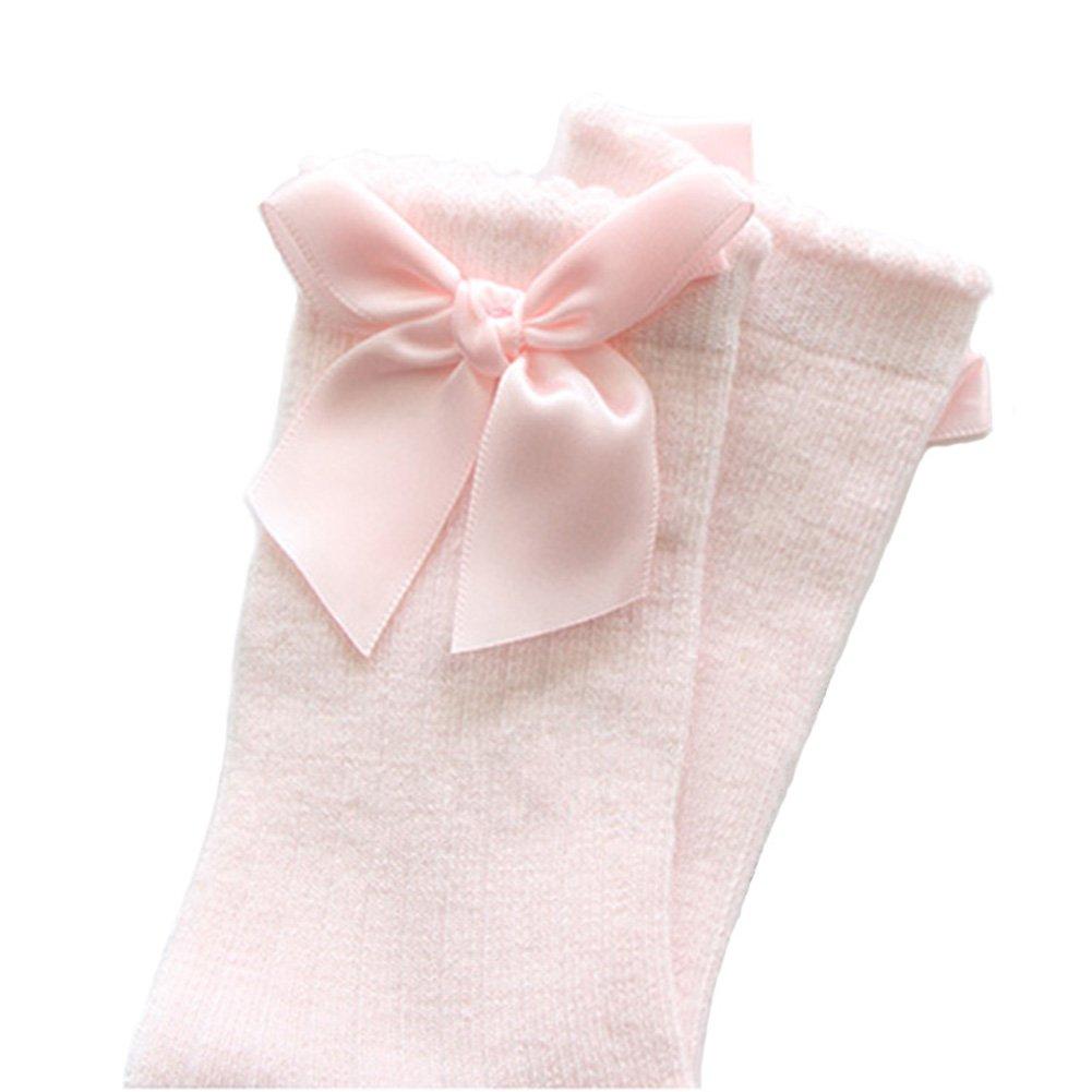XPXGMT 5 Pairs Bow Spanish Baby Girls Knee High Socks Cotton Newborn Socks Stockings 0-4 Year