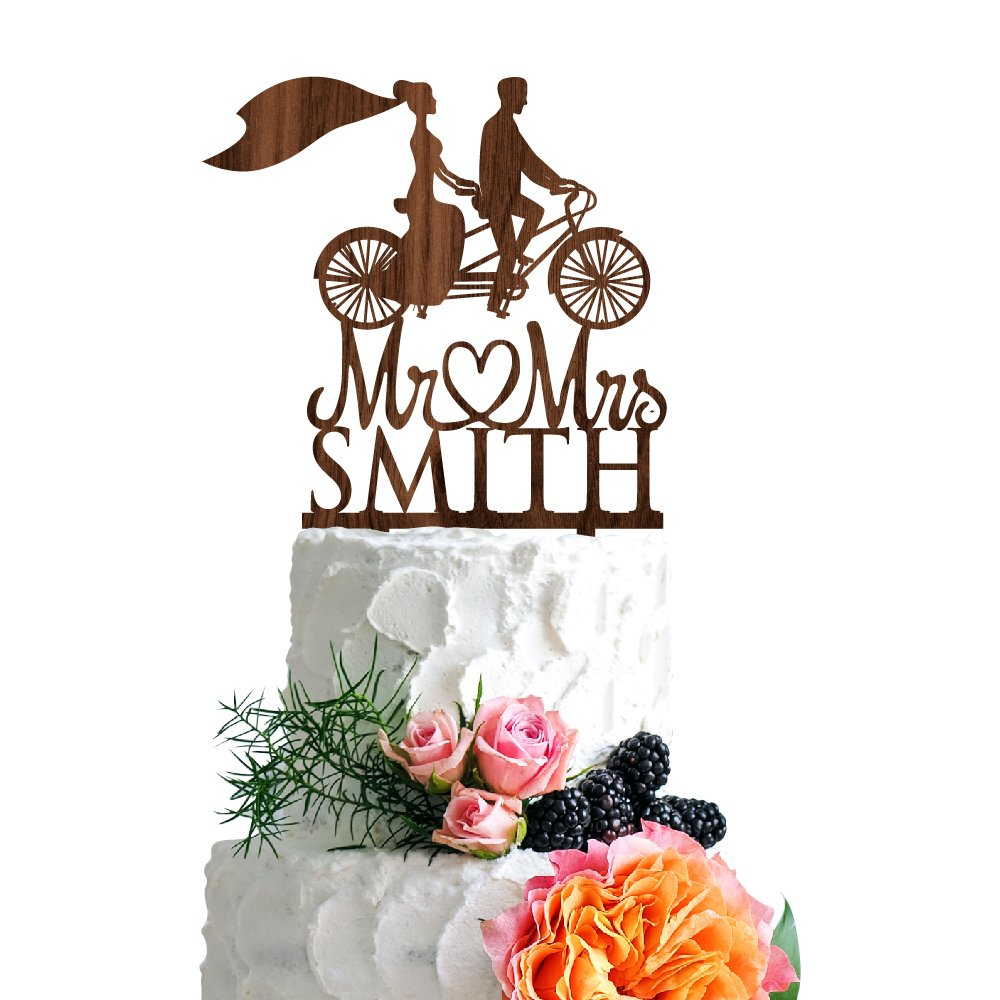 P Lab Retro Bicycle Bride Veil Wedding Wedding Cake Topper Rustic Wood Decoration Keepsake Engagement Favors for Special Event Walnut Wood