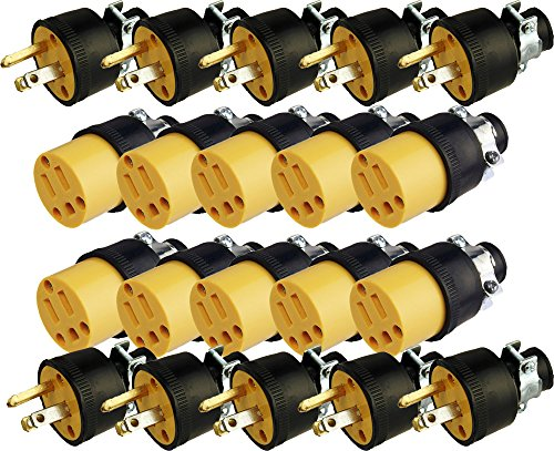 Black Duck Brand Male & Female Extension Cord Replacement Electrical Plugs End (20 Pieces)