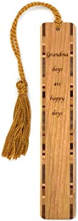 product image for Grandma Days are Happy Days Quote Engraved Wood Bookmark with Inlays and Tassel - Search B072MSTWY3 for Personalized Version