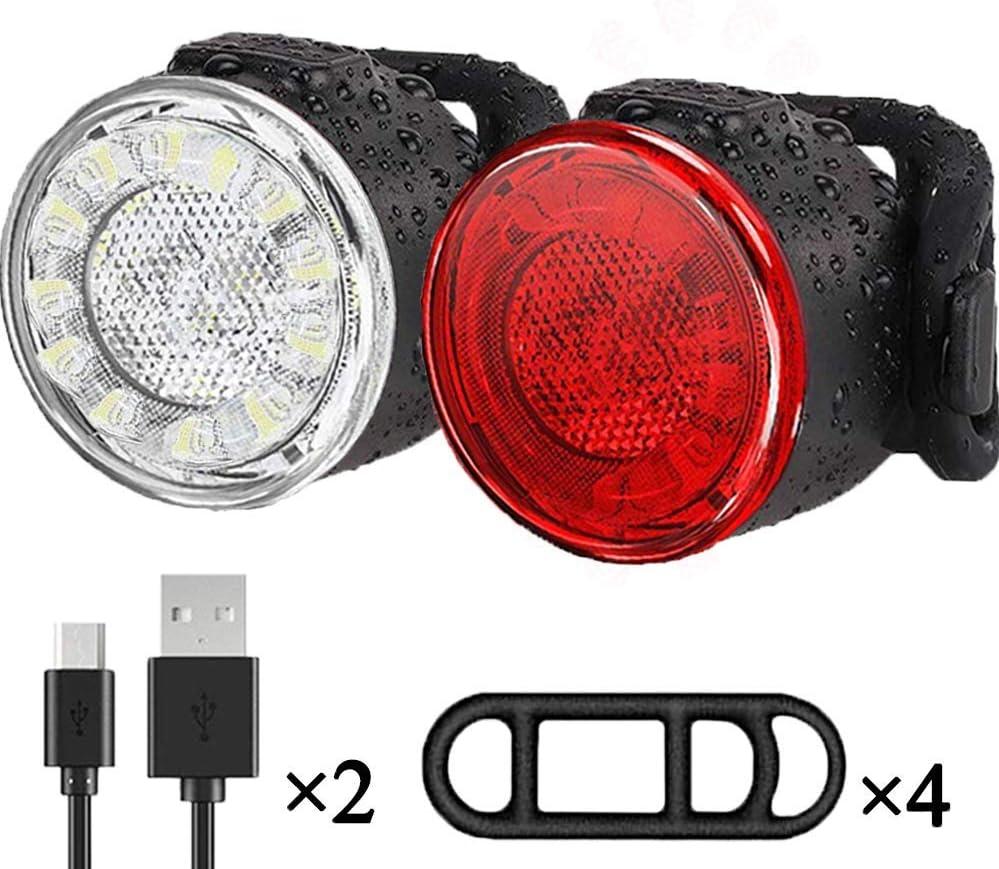 Luces Bicicleta, Impermeable LED Luz Bicicleta, Luces Delanteras y Traseras Recargables USB Para Bicicleta, 6 Iluminación Modos Luz Trasera, Luces Seguridad Para Ciclismo de Montaña y Carretera