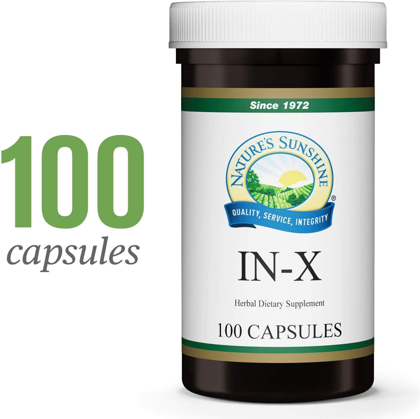 Nature s Sunshine in-X, 100 Capsules Herbal Blend That Supports The Immune System, Supports The Digestive Systems, and Helps Maintain Microbiological Balance