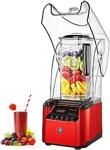 JIAWANSHUN Commercial Smoothie Blender Heavy Duty 75oz Quite Ice Crusher Professional Ice Blender with 8-speed & 6 Time for Milkshake Juice Restaurant (110V)