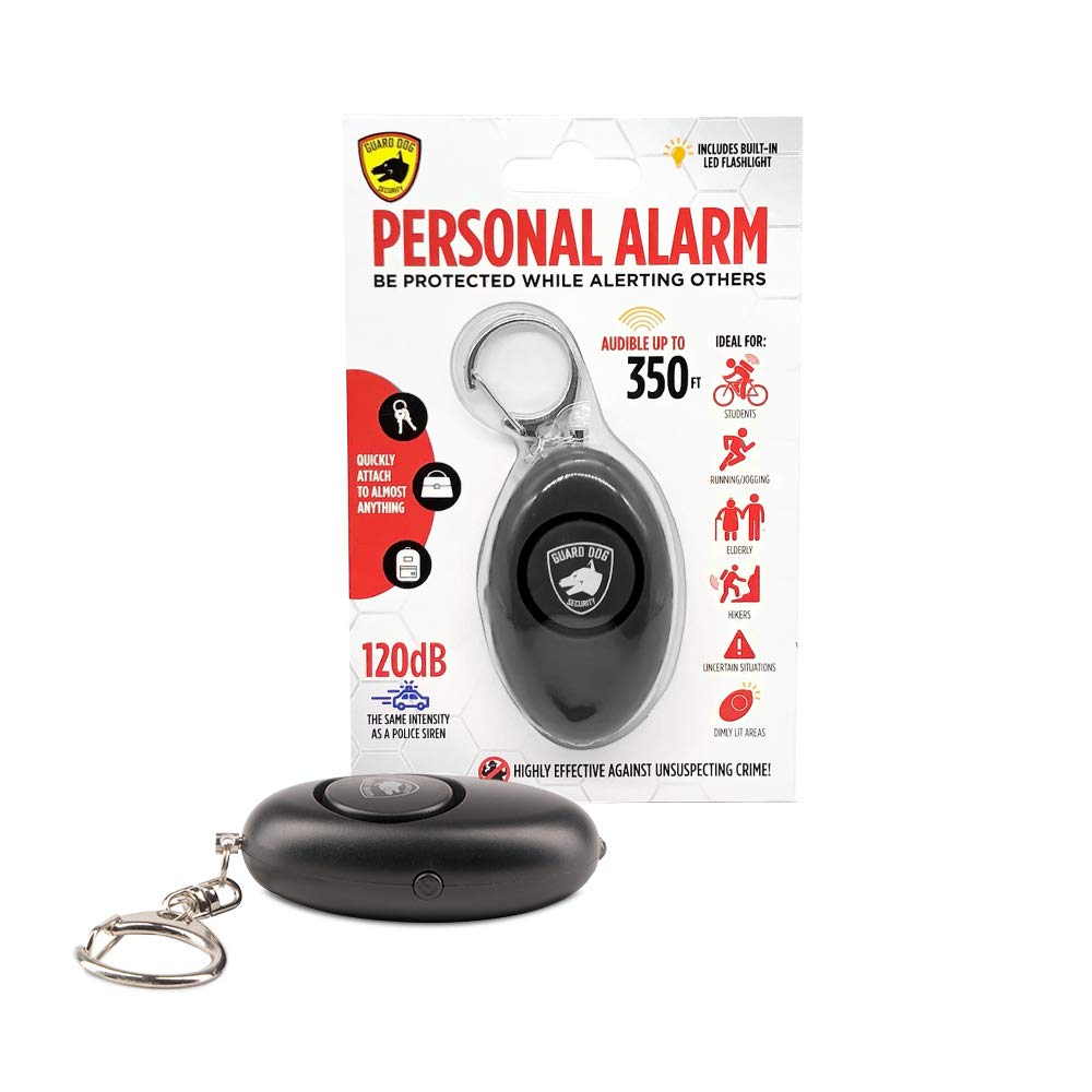 Keychain Guard Dog Security Personal Panic Alarm Rubberized Body LED Light 120 Decibels Quick Pull Alarm