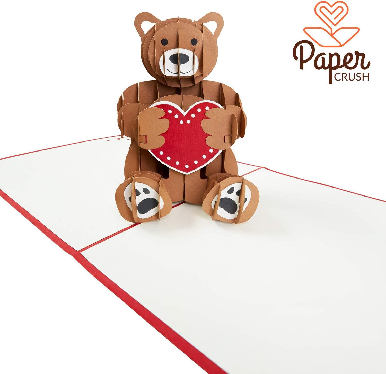 Tarjeta Pop-Up Osito de Peluche - Regalo especial para varias ocasiones (Aniversario, Boda, Cumpleaños) - Tarjeta de felicitación 3D hecha a mano con sobre incluido
