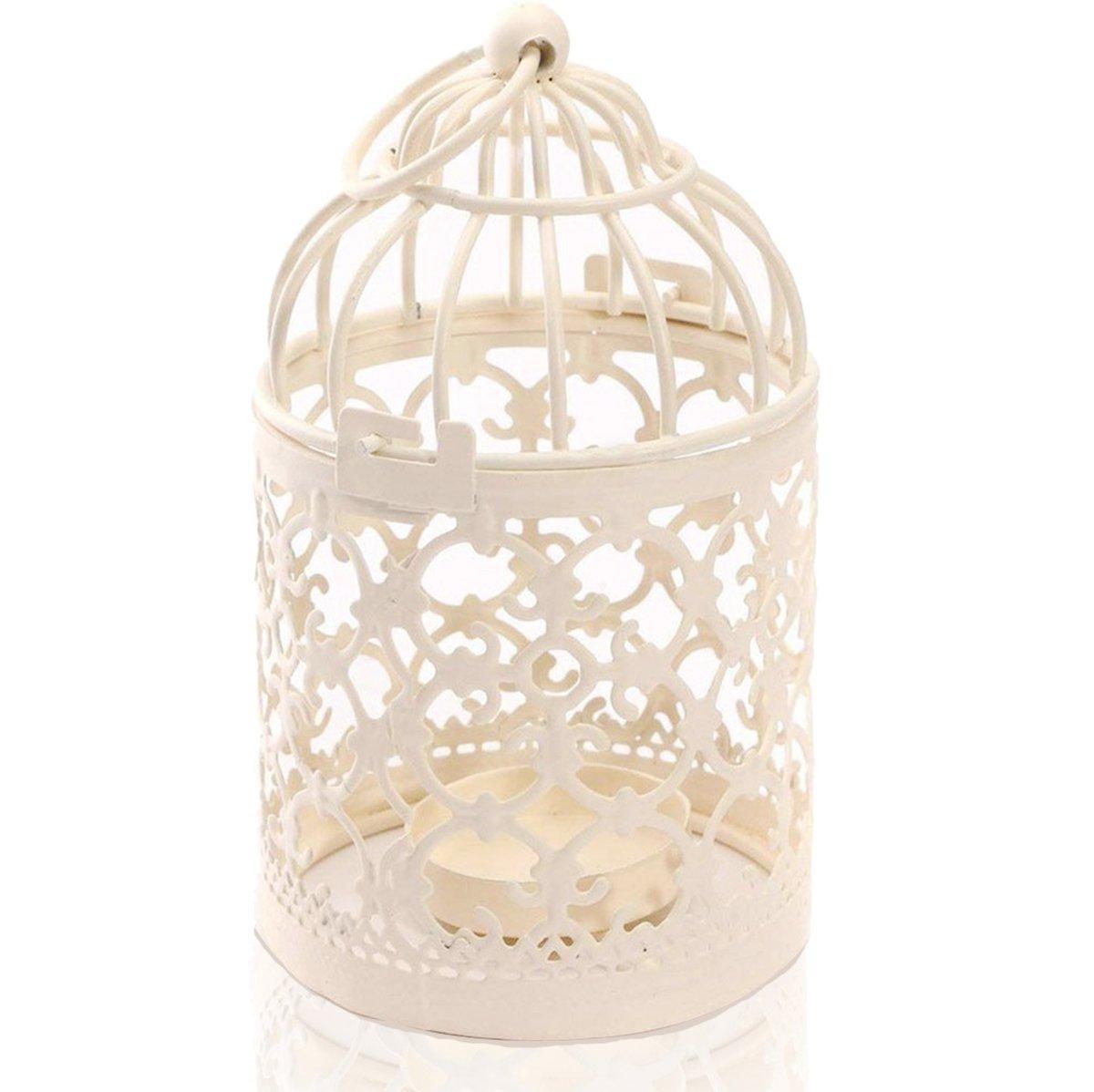 Porte-bougies Zedtom 8 x 14cm en forme de boîte à oiseaux en métal lanternes pour décoration de table de mariage (blanc)