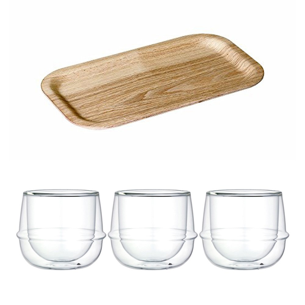 KINTO 8.7 inch Nonslip Slim Willow Tray and Three KRONOS Double Wall Glass Wine Glass, Set of 4