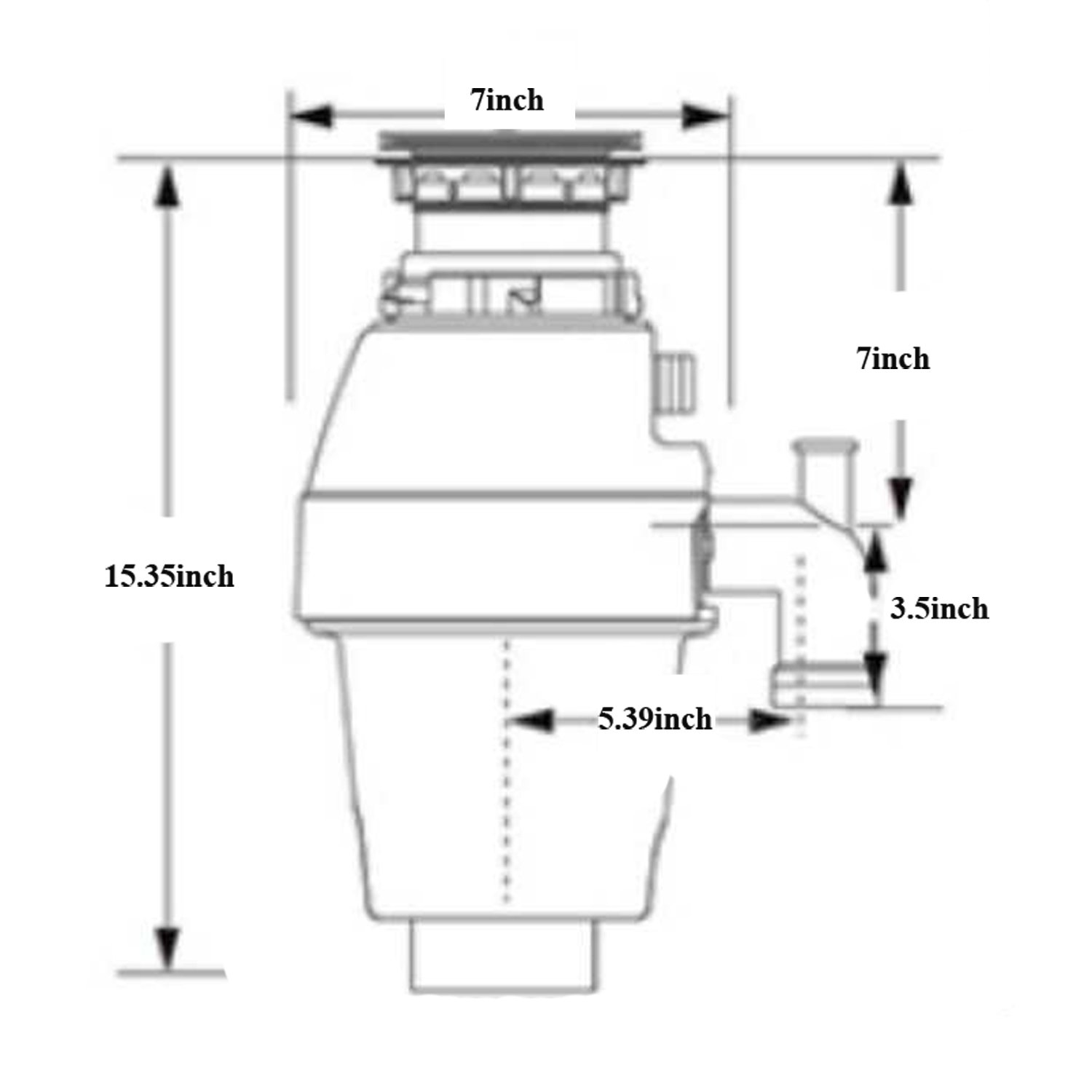 Cleesink 1/2 HP Food Waste Disposal, Kitchen Continuous Feed Garbage Disposal, 0.5 Horsepower, DC motor by CLEESINK (Image #5)