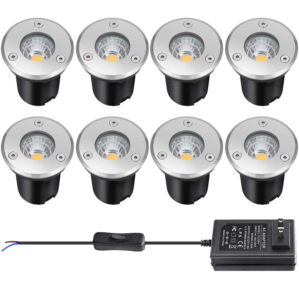 Landscape Lighting, Low Voltage Landscape Lights,12v Led Deck Lights 3W Waterproof Outdoor for Patio Pathway Ground Lawn Yard Driveway Walkway 8 Pack Warm White by LCARED