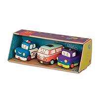 B.toys 迷你回力车-奔跑组 惯性硅胶 耐摔耐啃咬 儿童早教小汽车 卡通车3个装玩具 1岁+ BX1695Z