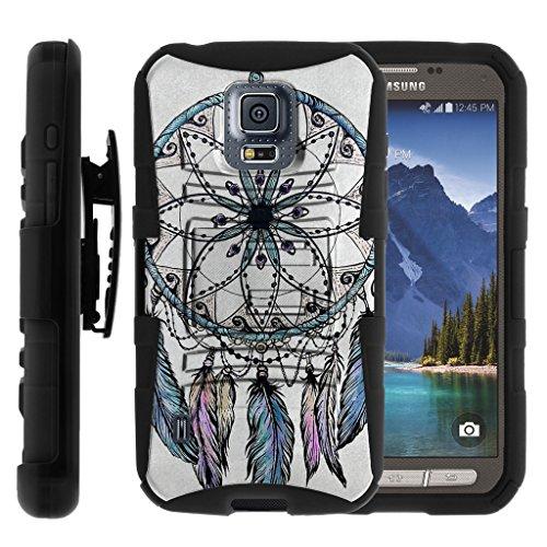 TurtleArmor | Samsung Galaxy S5 Active Case | G870 [Hyper Shock] Hybrid Dual Layer Armor Holster Belt Clip Case Kickstand - Dreamcatcher Feathers