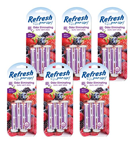 Refresh Your Car! 86539 Auto Vent Stick 4 Per, Mixed Berries, 6-Pack