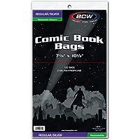 BCW Bolsas de Libro de cómics resellables Plateadas/Regulares, Polipropileno Transparente de 2 mil, 7-1/8 Pulgadas x 10-1/2 Pulgadas, 100 Unidades
