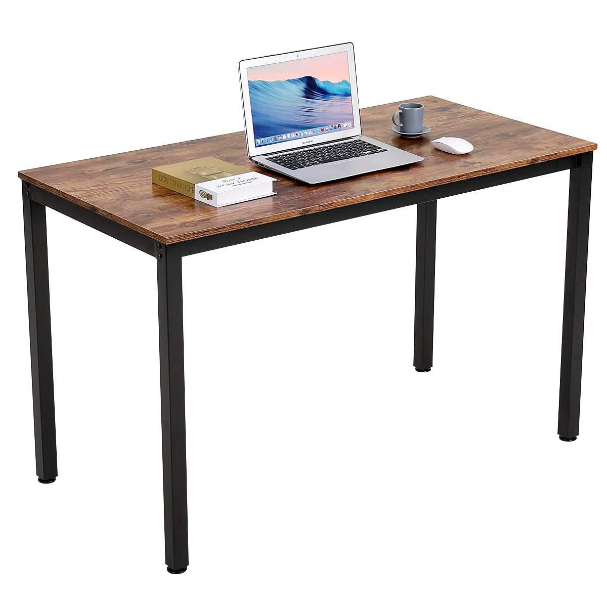 Writing Computer Desk Modern, Bonzy Home Computer Desk for Home Office, Sturdy Writing Desk Study Table Gaming Table Brown