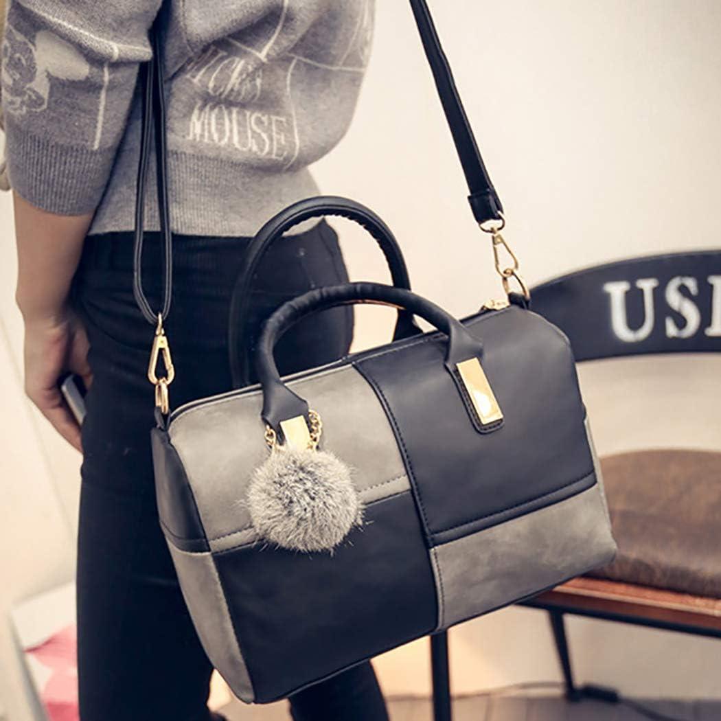 COOFIT Sac à Main pour Femmes Mix Color Top Handle Bag Crossbody Bag Sac à bandoulière avec Pompon Black&grey