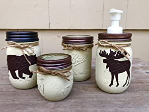 Rustic Mason Jar Bathroom Set/Mason Jar Bath Set/Rustic Bathroom Decor/Bear Bath Set/Moose Bath Set