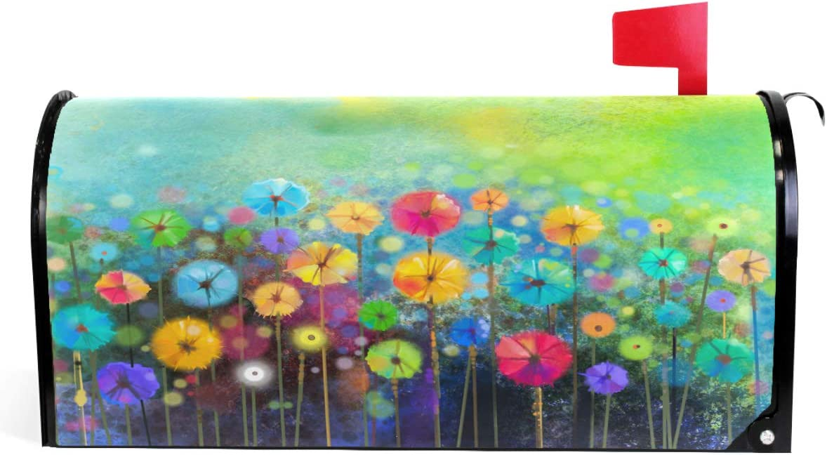 """Seasonal Nature Spring Summer Autumn Winter Flowers Mailbox Covers Standard Size Abstract Floral Watercolor Rainbow Dandelion Poppy Magnetic Mail Wraps Cover Letter Post Box 21"""" Lx 18"""" W"""
