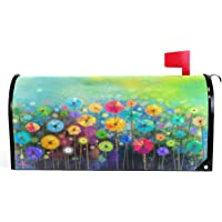 Seasonal Nature Spring Summer Autumn Winter Flowers Mailbox Covers Standard Size Abstract Floral Watercolor Rainbow Dandelion Poppy Magnetic Mail Wraps Cover Letter Post Box 21″ Lx 18″ W