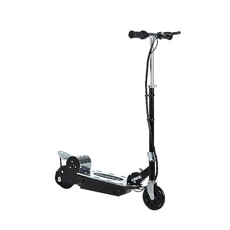 HOMCOM Patinete Eléctrico Scooter Plegable para Niño con Manillar y Tipo Monopatín con Freno y Caballete 120W Carga 50kg 81.5x37x96cm (Negro)
