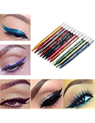 Big promotion! Eyeshadow Pen Hosamtel Waterproof Long-lasting 12 Colors Automatic Rotation Eyeliner Eye Shadow Pencil Makeup Eye Shadow Stick Eye Liner Pen Cosmetic Eyeshadow