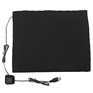 DC 5V USB Electric Cloth Heater, USB 3-Shift Waterproof Carbon Fiber Heat Pad, Washable Cushion Clothing Fever Tablets for Neck, Back, Abdomen, Lumbar Heating