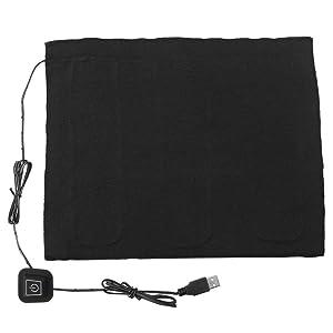 DC 5V USB Electric Cloth Heater, USB 3-Shift Waterproof Carbon Fiber Heat Pad, Washable Cushion Clothing Fever Tablets for Neck, Back, Abdomen, Lumbar Heating