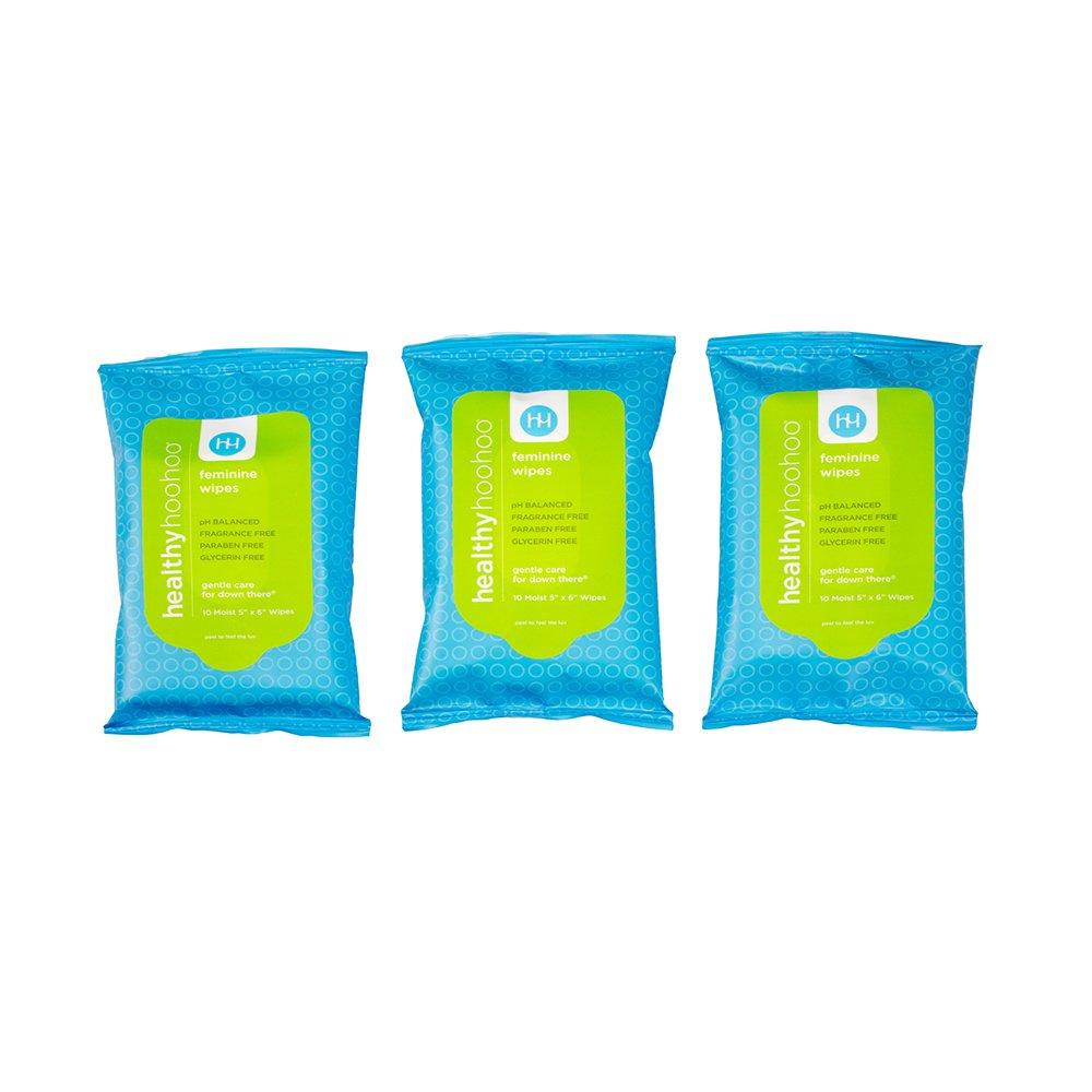 healthy hoohoo All Natural Gentle Femine Wipes Travelpack (3 Packs, 30 Wipes)