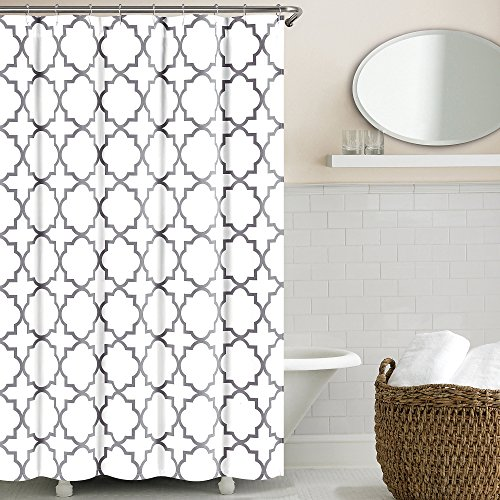 Echelon Home Quatrefoil Shower Curtain, Zinc - Echelon Shower