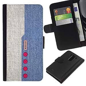 KLONGSHOP // Tirón de la caja Cartera de cuero con ranuras para tarjetas - Diseño Denim Blue Red Buttons tela de materia textil - LG G3 //