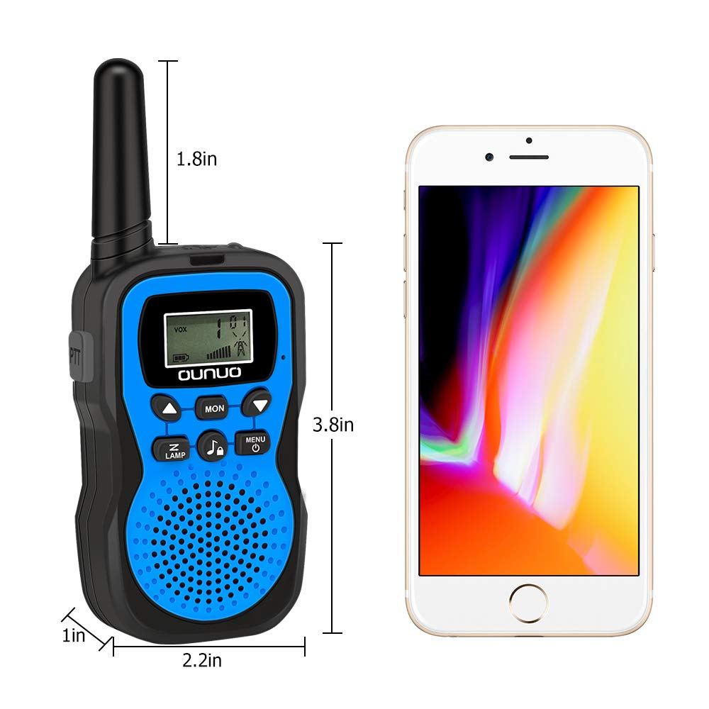 OUNUO Kids Walkie Talkies, 4 Miles Range Walkie Talkies for Kids 22 Channels 10 Customized Ringtones with Flashlight for Outdoors Good Parenting Toys - 1 Pair by OUNUO (Image #4)