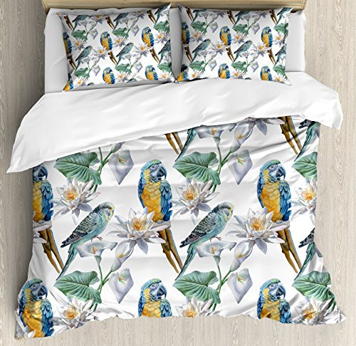 Lunarable Parrots Duvet Cover Set King Size, Realistic Looking Birds on Branches Budgie and Macaw Tropical Wildlife Illustration, Decorative 3 Piece Bedding Set with 2 Pillow Shams, Multicolor